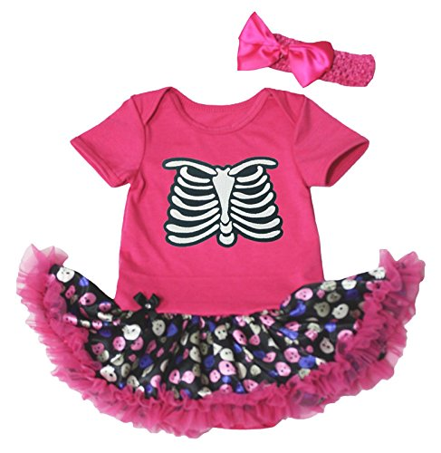 Halloween Dress Skeleton Print Hot Pink Bodysuit Cute Skulls Tutu Outfit Nb-18m (Hot 97 Halloween Party)