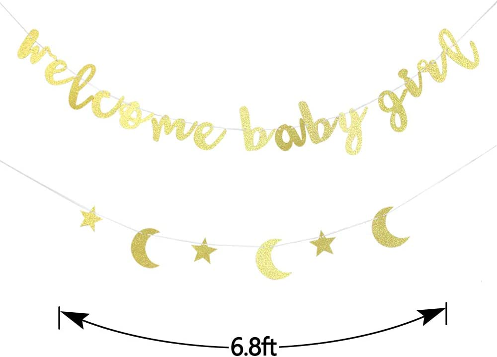 Amazon Com Gold Welcome Baby Girl Banner Girl S Birthday Baby Shower Gender Reveal Party Supplies Toys Games