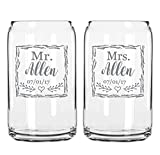 Two Engraved Beer Can Glasses-For the Bride and Groom-Mr. And Mrs.-Last Name-Wedding Date-Rustic Gift for Couple-His And Hers- Anniversary Present-Customized Glassware for Outdoor Reception