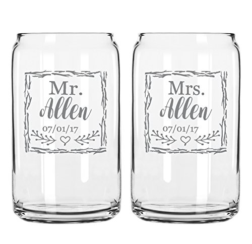 Cheap Two Engraved Beer Can Glasses-For the Bride and Groom-Mr. And Mrs.-Last Name-Wedding Date-Rustic Gift for Couple-His And Hers- Anniversary Present-Customized Glassware for Outdoor Reception