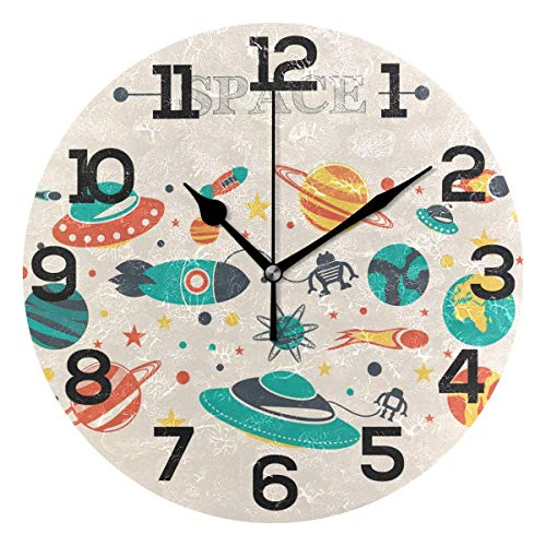 Dozili Outer Space Rocket Planets Pattern Round Wall Clock Arabic Numerals Design Non Ticking Wall Clock Large for Bedrooms,Living Room,Bathroom (Pbteen Room Design)