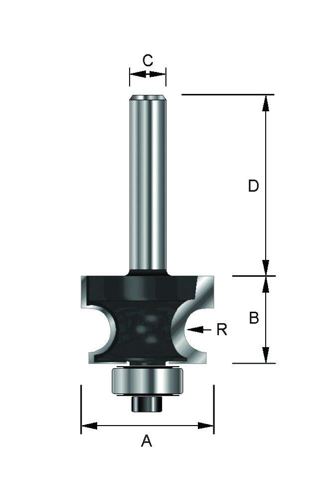 mit Kugellager A HM 25,4 mm 8 mm Schaft Durchmesser ENT 14463 Halbstabfr/äser HW C R 4,75 mm B 17,5 mm D 32 mm