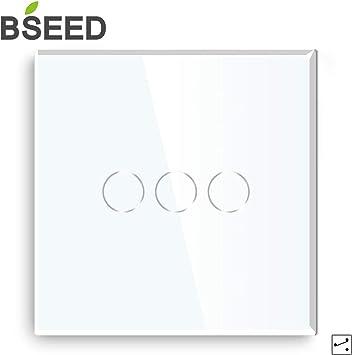 BSEED interruptor luz pared 3 Gang 2 Way interruptor tactil pared blanco interruptores de luz pared con pantalla táctil de vidrio: Amazon.es: Bricolaje y herramientas