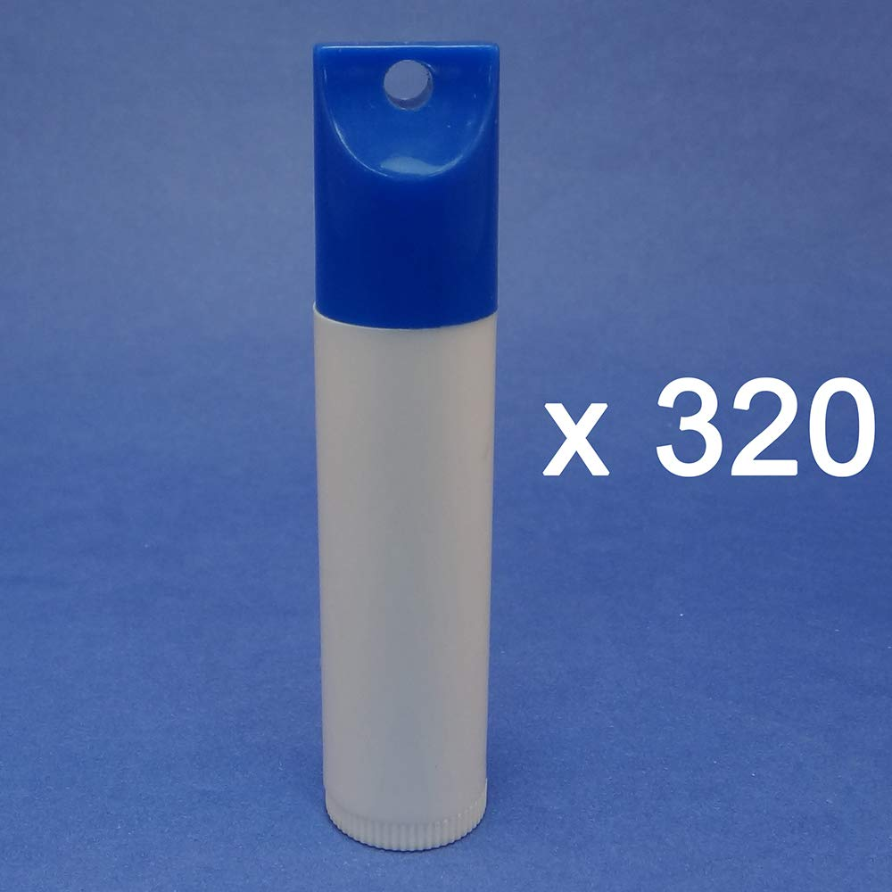Empty Chapstick White Tube Blue Cap Lip Balm Tube With Keychain Holder (Pack of 320)