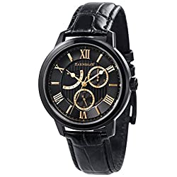 Thomas Earnshaw Mens The Cornwall Sweep Retrograde Watch - Black/Black/Gold