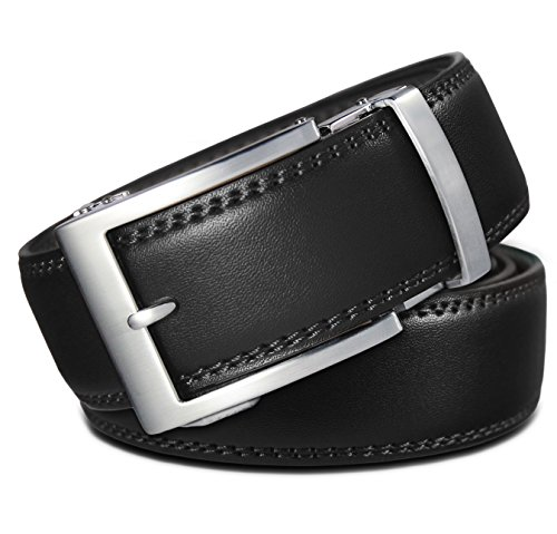 - Classic Men's Leather Ratchet Click Belt - Brushed Silver Buckle w/Double Stitched Black Leather Belt (Trim to Fit: Up to 33'' Waist)