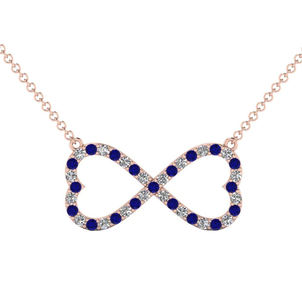 Dividiamonds Infinity Heart Pendant W// 18 Chain 0.39 Ct Round Blue /& Sim Diamond in 14K Gold Plated .925