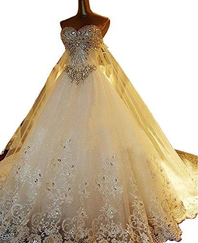 Ruisha Women's Sweetheart Rhinestones Beads Bling Bling Wedding Dress Long Train Shiny Lace Ball Gown Size 14 White