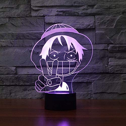 luz de noche 3d 3D Luffy Lámpara de Mesa Led Baby Sleep Lighting ...
