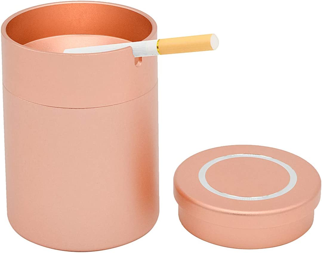 Rose Gold Alloy Aluminum Enclosed Ashtrays Portable Cylindrical Windproof Automatically Extinguished with Lid Designed for Car//Home//Outdoor Use