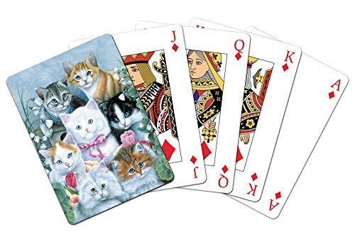Tree-Free Greetings Standard Playing Card Deck, Cuddly Kittens Themed Cat Lovers Art (49532)