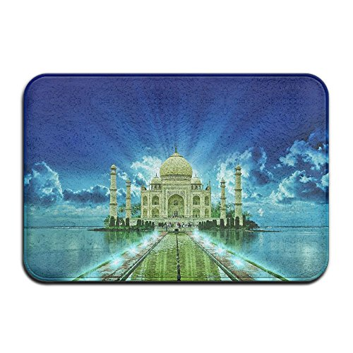 Homlife Rectangle Thin Doormats Beautiful Taj Mahal Night Entrance Mat Non-slip Indoor Outdoor Area Rug Bathroom Mats Coral Fleece Home ()
