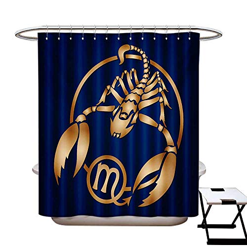 Zodiac Scorpio Shower Curtain Collection Horoscope Symbol in a Circular Design on a Navy Blue Background Patterned Shower Curtain W36 x L72 Navy Blue Pale Brown (Collection Lauren Conrad)