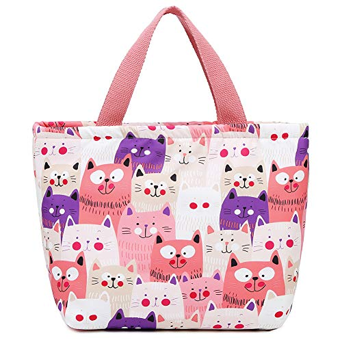 MOSOUL Zipper Insulated Lunch Bag Printed Cooler Tote Box Women Men Lunch Organizer Tote Bag Adults Lunch Holder Lunch Container (Pink Cat) (Cat Lunch Bag)