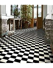 PVC vloerbedekking vinyl vloer in zwart-witte vierkanten (€ 9,95/m²)