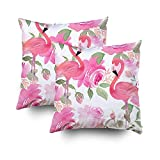 GROOTEY Decorative Cotton Square Set of 2 Pillow Case Covers Zippered Closing Home Sofa Decor Size 18X18Inch Costom Pillowcse Throw Cover Cushion,Watercolor pattern Floral print flamingo
