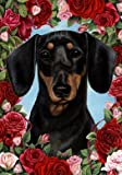 Dachshund B/T – Tamara Burnett Valentine Roses Large Flag