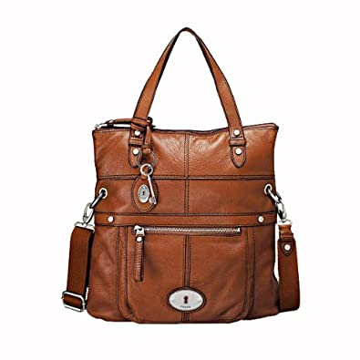 Womens Leather Handbags Fossil BAG WOMAN MADDOX FOLDOVER CHESTNUT ...