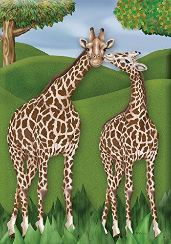 (Toland Home Garden Giraffe Love 12.5 x 18 Inch Decorative Exotic Zoo Animal Kiss Garden Flag)