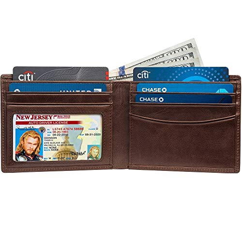 Slim Bifold RFID Bloking Wallet For Men Genuine Leather Packed In Stylish Gift Box (Coffee)