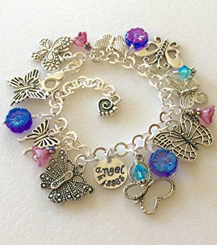 Antique Butterfly Bracelet - Butterfly Bracelet, Butterfly Charm Bracelet, Butterfly Lover, Nature Lover, Flower Bracelet, Blue And Pink Flowers, Hand Stamped