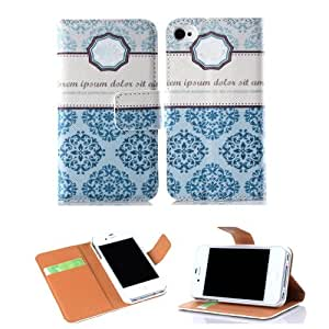 Ezydigital CBCarryberry Fashion Designer Colorful PU Leather Premium Folio Wallet Case with Stand And Credit Card Slots & Holder For Apple iPhone 4 4S