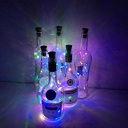 Wine Bottle Lights with Cork, 6 Pack 20 LEDs Bottle String Light / 6.5ft (2M) Silver Copper Wire Battery Powered Home…
