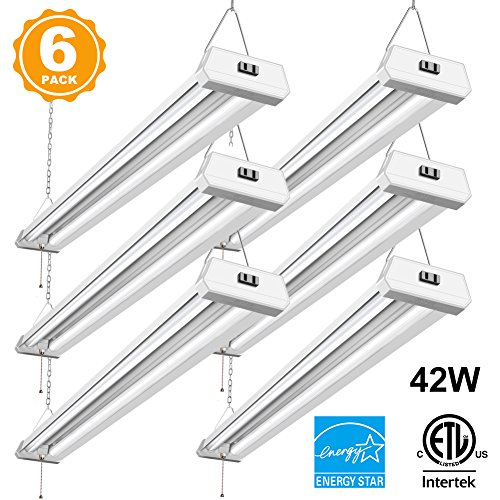 42W Linkable LED Shop Light for garage BBOUNDER 4FT 4800 Lumen 5000K Daylight Super Bright garage Light Surface and Hanging Mounting for Warehouse Basement Garage Workbench recreation room (6 Pack)