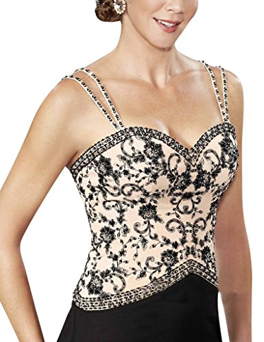 Embroidery Dresses Black with Jacket Straps S Gowns H Sequins The Party of Mother D Bride tp6wfqS