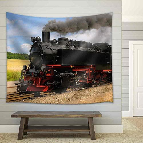 Steam Train with Black Smoke Running on Island Rugen Northern Germany Fabric Wall