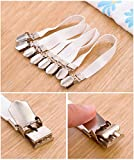 Leyaron Adjustable Heavy Duty Bed Sheet Cover Grippers Suspenders Holder Band Straps Clips Fasteners, Set of 8, White