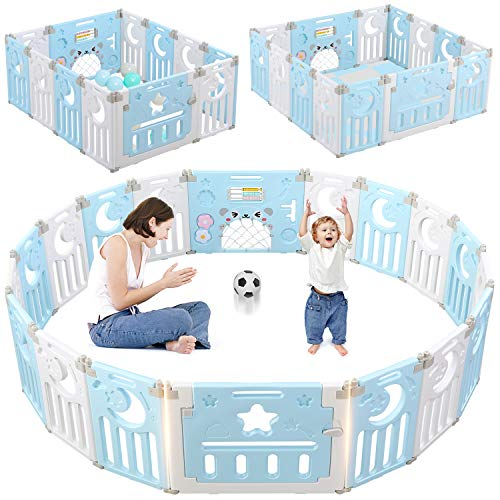 Baby Playpen, Dripex 14-Panel Foldable Kids Activity Centre Safety Play Yard Extendable Home Indoor Outdoor Baby Fence Play Pen with Gate for Baby Girls Boys (NO Gaps, Blue + White)