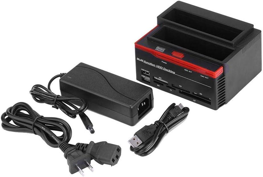 Wendry HDD Enclosure Dual-Bay 2.5//3.5 SATA /& IDE HDD Enclosure Docking Dock Station USB2.0 Hub Card Reader Support UASP SATA III Black