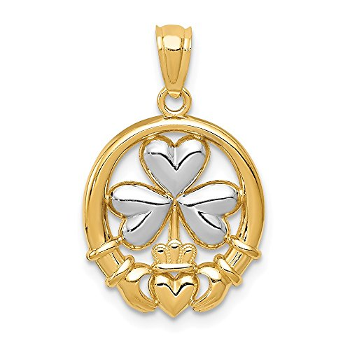 14k Yellow Gold Irish Claddagh Celtic Knot Shamrock Pendant Charm Necklace Fine Jewelry Gifts For Women For Her ()