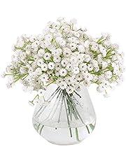 VINFUTUR 9 st konstgjorda gypsophila blommor spädbarn andedräkt blommor buketter för hantverk bröllop heminredning, cirka 400 blommor (vit)