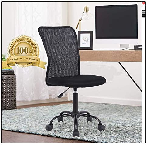 Ergonomic Office Chair Executive Mid Back Mesh Desk Chair Armless Rolling Swivel Chair Height Adjustable Drafting Chair Support for Home Office Computer Study Task Gaming-Black