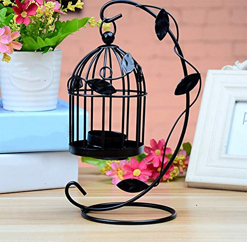 QINYUN Mental Candle Holder Centerpiece,Hollow Out Hanging Candlestick Lantern for Party Wedding Home Decorations (2 Pcs Black) by QINYUN (Image #2)