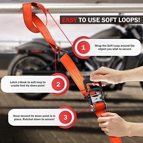 scooters Skystuff Lot de 4 sangles darrimage pour moto lot de 4 mousquetons robustes pour s/écuriser ATV Jardin UTV Dirt Bikes Pelouse