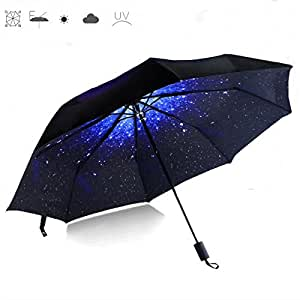CAMTOA Starry Star Automatic Folding Umbrella, Travel Creative Star umbrella Compact Automatic Open Close Umbrella