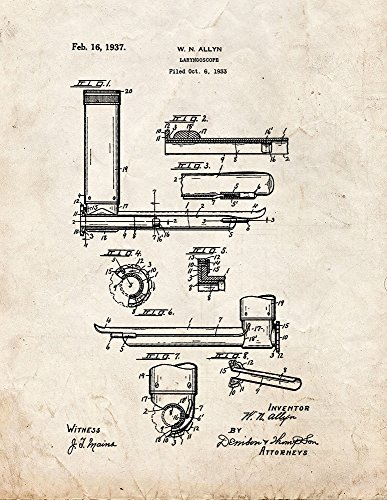 "Doctor's Laryngoscope Patent Print Art Poster Old Look (8.5"" x 11"")"