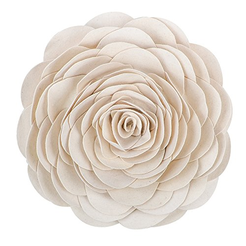 King Rose Flower Handmade 3D Decorative Throw Pillow Wool Cushion for Bed Living Room 14 Inches Round Creamy White -