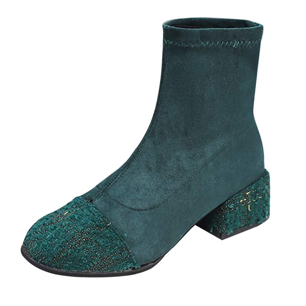 ZOMUSAR Women's Fashion Pointed Shoes Elastic Boots Casual Mid-Heel Ladies Short Booties Green by ZOMUSAR