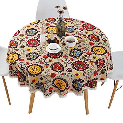 60 Inch Round Dining Room - Bettery Home Bohemian Style Round Tablecloth Cotton Linen Lace Floral Table Cloth for Kitchen Dining Room Tabletop Decoration, Round - 60