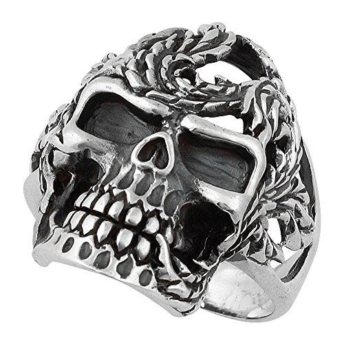 Serpentine Sterling Silver Ring (Serpentine Horseman Skull Ring Sterling Silver 925 Size 15)