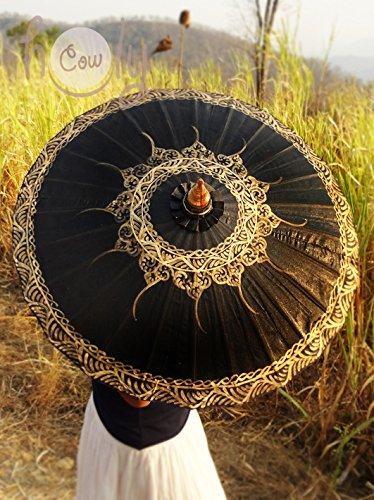 Umbrellas Hand Painted (Hand Painted Black Cotton Waterproof Umbrella)