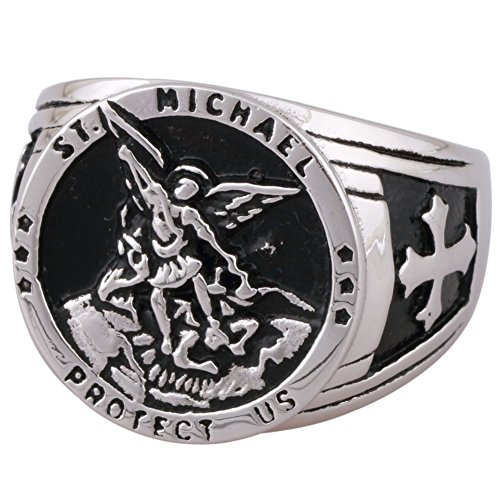 Eosing St Michael The Archangel Catholic Medal Stainless Steel Amulet Ring (6)
