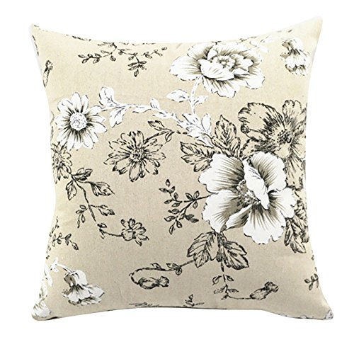 (LivebyCare Multi-Sized Floral Printed Cushion Cover Linen Cotton Cover Throw Pillow Case Sham Pattern Zipper Pillowslip Pillowcase for Home Sofa Couch Chair Back Seat)
