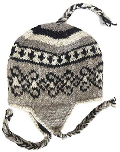Wool Winter Chullo Beanie Fleece Lined Toque Cap Ear Flaps Sherpa Peruvian (V8)