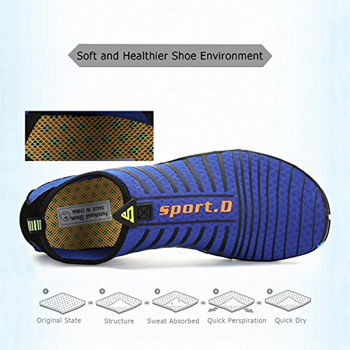 Sole Non Aerobics Dry Swim Sports Upgraded blue Quick for Surf Rubber Shoes Snorkeling Aqua with Slip Shoes Yoga Swimming Beach Water Mens Boating Shoes Womens Pool qOaaXF