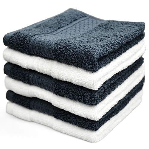 Cleanbear Wash Cloths 100% Cotton Washcloths, 6-Pack Super Soft Facecloths - 13 x 13 (White & Dark Gray)